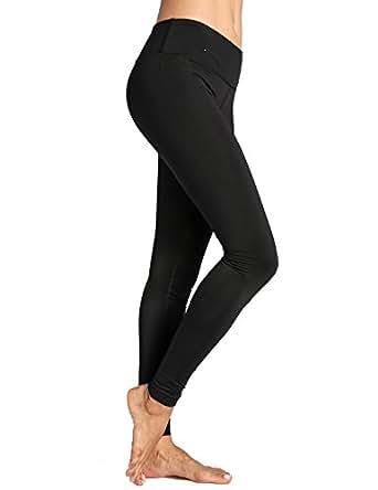 CRZ YOGA Donna Pantaloni da Allenamento Capri Leggins Sportivi Yoga con Tasche Nero XXS