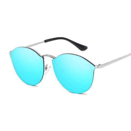 Kjwsbb Weinlese-Schwarze runde Sonnenbrille-Frauen-große Rahmen-Legierungs-Sonnenbrille-weiblicher reflektierender Spiegel UV400 Gläser