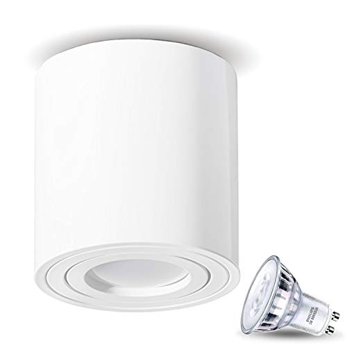JVS Aufbauleuchte Aufbaustrahler Deckenleuchte Aufputz LED DIMMBAR 5W Warm-weiß Milano GU10 Fassung 230V rund Weiss schwenkbar Deckenleuchte Strahler Deckenlampe Aufbau-lampe Downlight aus Aluminium