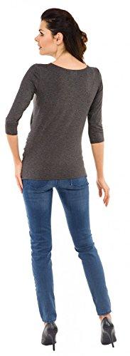 Zeta Ville - Damen Umstands-Oberteil Top T-Shirt witzige Babyfüßchen Druck 548c Graphit Melange