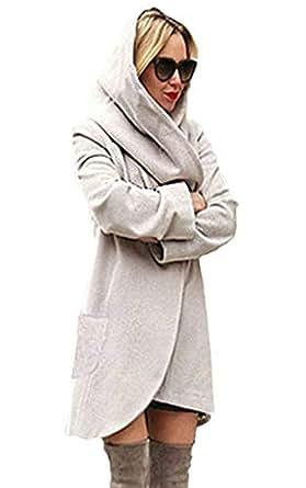 Minetom Basic Jacket Giacca Con Cappuccio Donna Hoodie Cappotto Cappotti Autunno Inverno Cardigan Casuale Moda Parka Bianca IT 38
