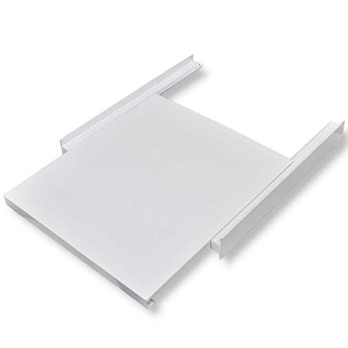 Festnight Stahl Zwischenbausatz Rahmen für Trockner auf Waschmaschine mit Ausziehlade 60 x 60 x 8 cm