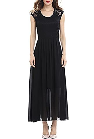 URqueen Women Elegant Lace Chiffon Party Prom Gowns Long Maxi Dress Black M