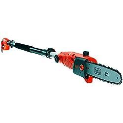 BLACK+DECKER PS7525-QS PS7525-QS Elagueur sur perche filaire - Vitesse de chaine de 11 m/s - Branche = 17cm - Grip à la poignée et au manche, 800W, Noir, Orange, 25 cm