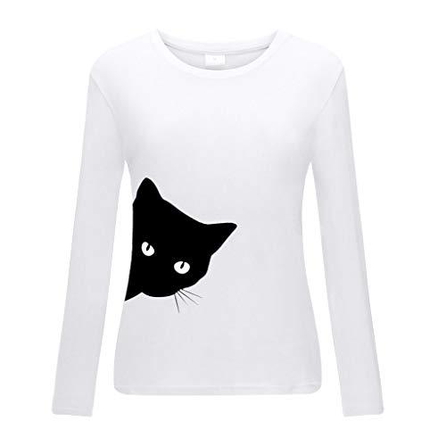 DOFENG Damen T Shirt Bluse Sweatshirt Damen Lange Ärmel Mode Locker Volltonfarbe Sonnenblume Drucken Lässig O Hals Pullover Oberteil Tops (H-Weiß, Medium) -