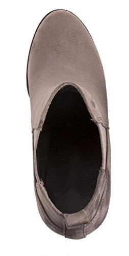 Elara Damen Stiefeletten | Klassische Ankle Boots | Wildlederoptik Blockabsatz | Gefüttert Grau
