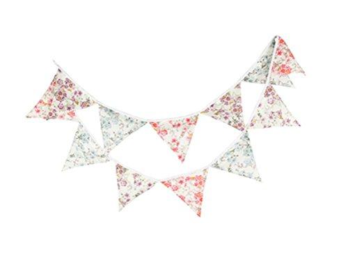 Affe Fanions réutilisables en tissu 12 drapeaux 3,3 m Imprimé fleurs Pour fête d'anniversaire, décoration de jardin