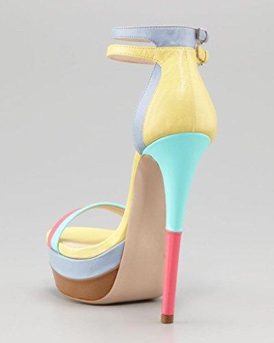 Onlymaker Damenschuhe High Heels Open Freie Toe Riemchen Sandale mit Plateau Mehrfarbig