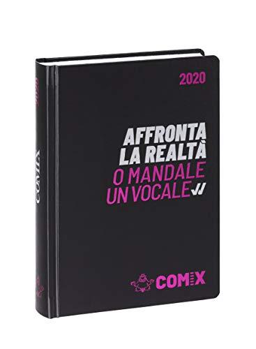 Comix Diario 2019/2020 datato 16 mesi, formato Standard 13x17.8 cm, nero scritta argento fucsia