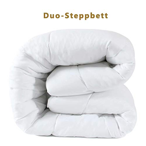 DUCK & GOOSE Hochwertige Duo-Steppbett Warme Winterdecke Bettdecke Steppdecke Microfaser 200x220CM