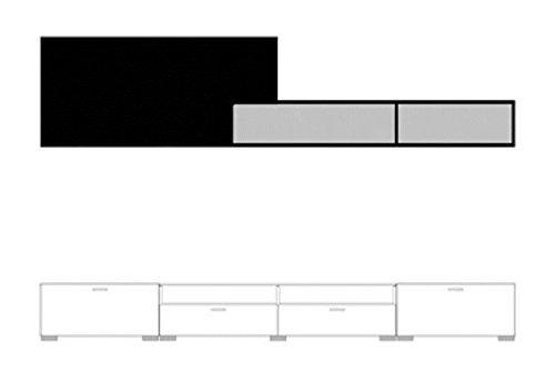 Wohnwand modern Fancy in Hochglanz schwarz – weiß ohne Beleuchtung - 2