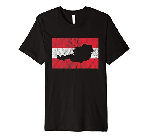 Österreichische Flagge T-Shirt Österreich Umriss Reise