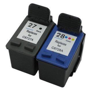 Prestige Cartridge HP 27 / HP 28 Pack de 2 Cartouches d'encre compatible avec Imprimante HP Officejet/Deskjet/Fax Séries, Noir/Couleur