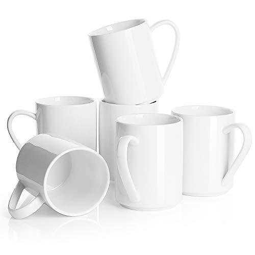 Sweese 603.001 6er Set Kaffeebecher aus Porzellan, 350 ml, Tasse mit großem Henkel für Heißgetränke