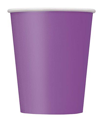 Unique Party- Paquete de 14 vasos de papel, Color morado, 266 ml (34481)