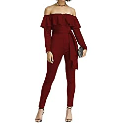 FeelinGirl Femme Combinaisons Casual Jumpsuit Épaule Dénudée Sexy Rompers 3/4 Manches avec Ceinture Rouge Une épaule-98 XL