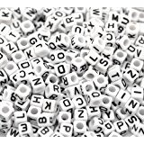 "500pcs Beads Letter Beads Mixed White Acrylic Plastic Beads Alphabet Beads for Jewellery Making ""A-z"" Cube Beads Size 6x6mm or 1/4"" for Bracelets, Necklaces, Key Chains and Kid Jewellery"