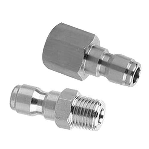 F Fityle 2 Stücke Edelstahl Hochdruckreiniger Zubehör Schnellkupplung Gartenschlauch Adapter 1/4 Zoll Stecker Set