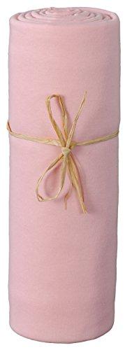 P'tit Basile - Drap housse jersey 100% coton Bio extensible pour berceau ou nacelle, 40x80 cm, coloris rose. Qualité supérieure coton peigné 135 grs/m2