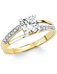Amor Damen-Ring Bicolor 333 Gelbgold teilrhodiniert Zirkonia weiß