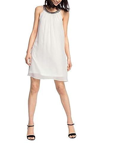 ESPRIT Collection Damen Kleid fließende Chiffon Qualität, Knielang, Gr. 36, Weiß (OFF WHITE 110)