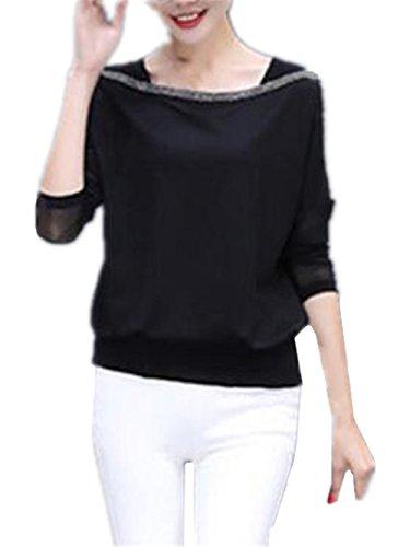 BESTHOO Donna Maglietta Manica Lunga Camicetta T-shirt Tops Allentato  Casuale Elegante Maglietta A Maniche 0765446b67b