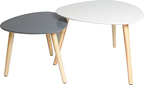 2er Set Couchtisch / Beistell-tische im Retro-Stil, Sofatisch mit drei Beinen 55x55cm (Weiss matt) & 40x40cm
