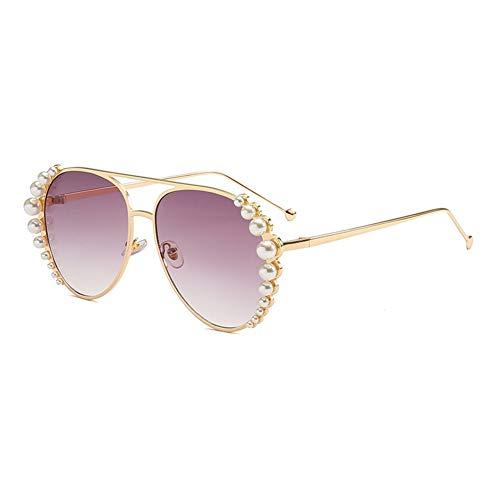 Z&HA Aviator Sonnenbrille Für Frauen, Oversize Fashion Pearl Sonnenbrille Für Frauen Inspiriert, Weiße Perlen Verziert Brillen, UV400 Schutz,Gold