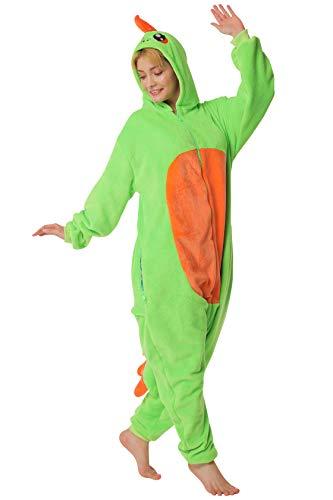 corimori 1852 Byte der Dinosaurier Damen Herren Onesie Jumpsuit Anzug Einteiler Kostüm Verkleidung Gr. 180 - 190cm, Grün
