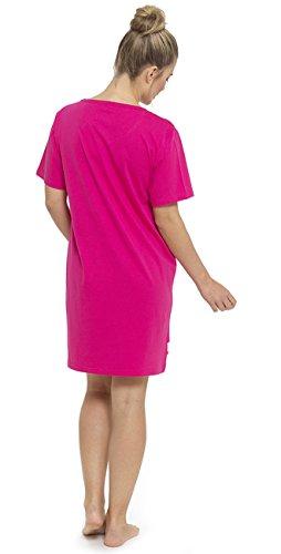 Dames 100% Coton Robe De nuit T-Shirt Slogan de nuit Pyjamas Nuisette Rose