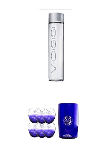 Voss Artesian STILL Gletscher Wasser in Glasflasche 0,8 Liter + Morelli Leonardo Wassergläser mit Eichstrich 0,2 Liter 6 Stück + Morelli Wasserkühler aus Acryl