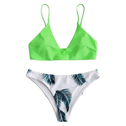 Damen Bikini Set Triangel BH Bikini Rückenfrei Bademode Push Up High Cut Einlagen Oberteil Mit Schwarz Bikinihosen (Süße Bh Für Teenager-mädchen)