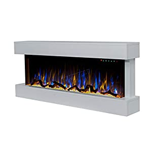 FoxHunter Modern Wall Mounted Fireplace Electric MDF Frame With LED Light Flat Glass 1600W Remote Control Heater Fire Suite FEM02 White