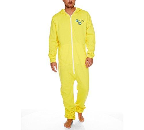 king Bad Heisenbergs Laboranzug Onesie Overall für Erwachsene Gelb (Crystal Meth Breaking Bad Kostüm)
