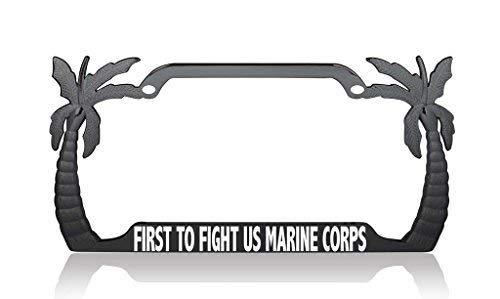 Kennzeichenhalter für Nummernschild, Motiv: First To Fight, US Marine Corps, Patriotische USA Palme, Metall -