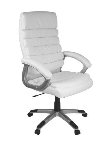 AMSTYLE Siège de bureau Valencia Design en cuir Blanc