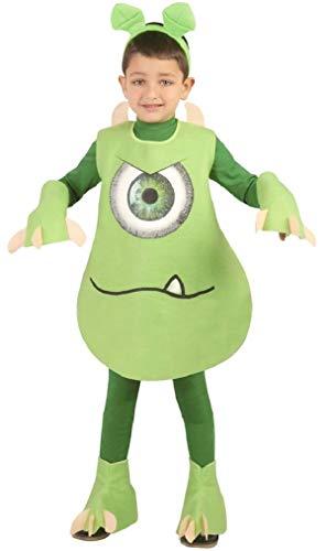Kostüm Für Alien Jungen - Fancy Me Jungen Grünen Einäugig Monster Alien Mike Halloween Kleid Kostüm Schuhe 5-12yrs Jahre - Grün, 5-6 Years