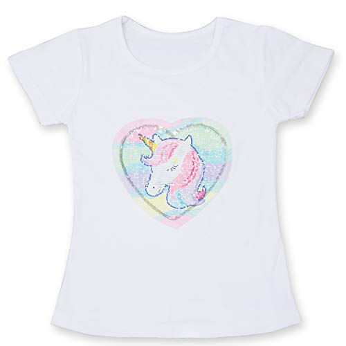 TTYAOVO Flip Lentejuelas UnicornioT-Shirt para Niñas, Unicornio Manga Corta Verano Tops Ropa para Niñas Tamaño 3-4 Años