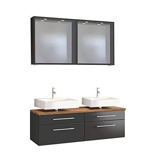 Pharao24 Doppelwaschtisch und Spiegel in dunkel Grau Wildeichefarben