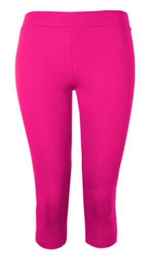 Damen Leggings Damen Crop Capri Hose BRODY & Co 3/4 Gym zugeschnitten Leggins Dance Yoga Gr. Large / X-Large, kirschrot (Stretch-capri-hosen Rosa)