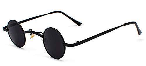 WDXDP Sonnenbrillen Retro Mini Sonnenbrille Rund Herren Metallrahmen Gold Schwarz Rot Kleine Runde Gerahmte Sonnenbrille Für Damen Unisex Uv400Voll Schwarz