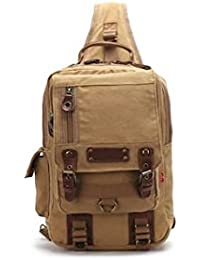 Banggood ELECTROPRIME Casual Canvas Leather Crossbody Messenger Sling Bag Chest Bag For Men Khaki
