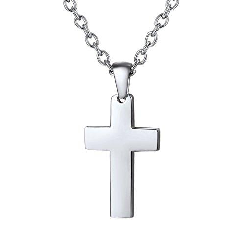 PROSTEEL Kreuzanhänger Edelstahl Christlich Kreuz Halskette Minimalist Unisex Halskette für Männer Frauen Jungen Mädchen, Silber-S (Mädchen Halskette Kreuz)
