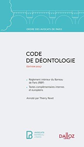 Code de déontologie de l'Ordre des avocats de Paris 2016 - Nouveauté