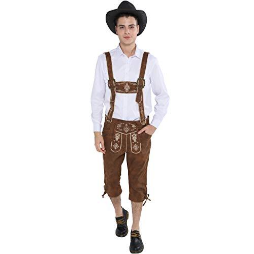 EraSpooky Trachtenlederhose Oktoberfest Herren Lederhose Kniebund Kostüm Bayerische - Lederhose Oktoberfest Kostüm