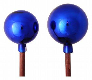 Rose sfera blu sul bastone di legno 20cm + 120cm Stab