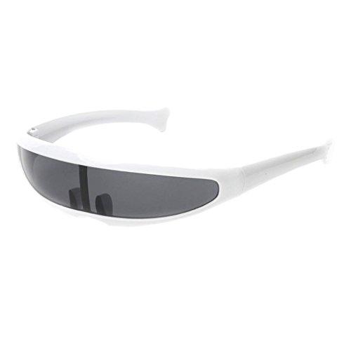 P PRETTYIA Erwachsene Funky Sonnenbrille Verspiegelte Dekobrille Partybrille Futuristische Spaß Brille Alien Kostüm Zubehör - Weiß - Funky Kostüm