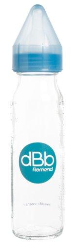dBb Remond Biberon Verre - Régul'Air - Tétine Nouveau-Né - Silicone - Système Bleu Translucide - 240 ml