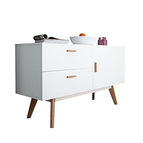 Eiche Furnier Matt (Invicta Interior Design Sideboard Scandinavia MEISTERSTÜCK 120cm weiß Echt Eiche Anrichte Kommode)