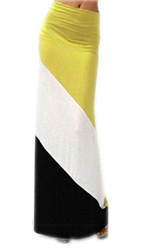 Farbe Blockierte gestreifte Chevron Maxi Long Beach-Rock-Kleid Gelb L (Gelb Chevron)